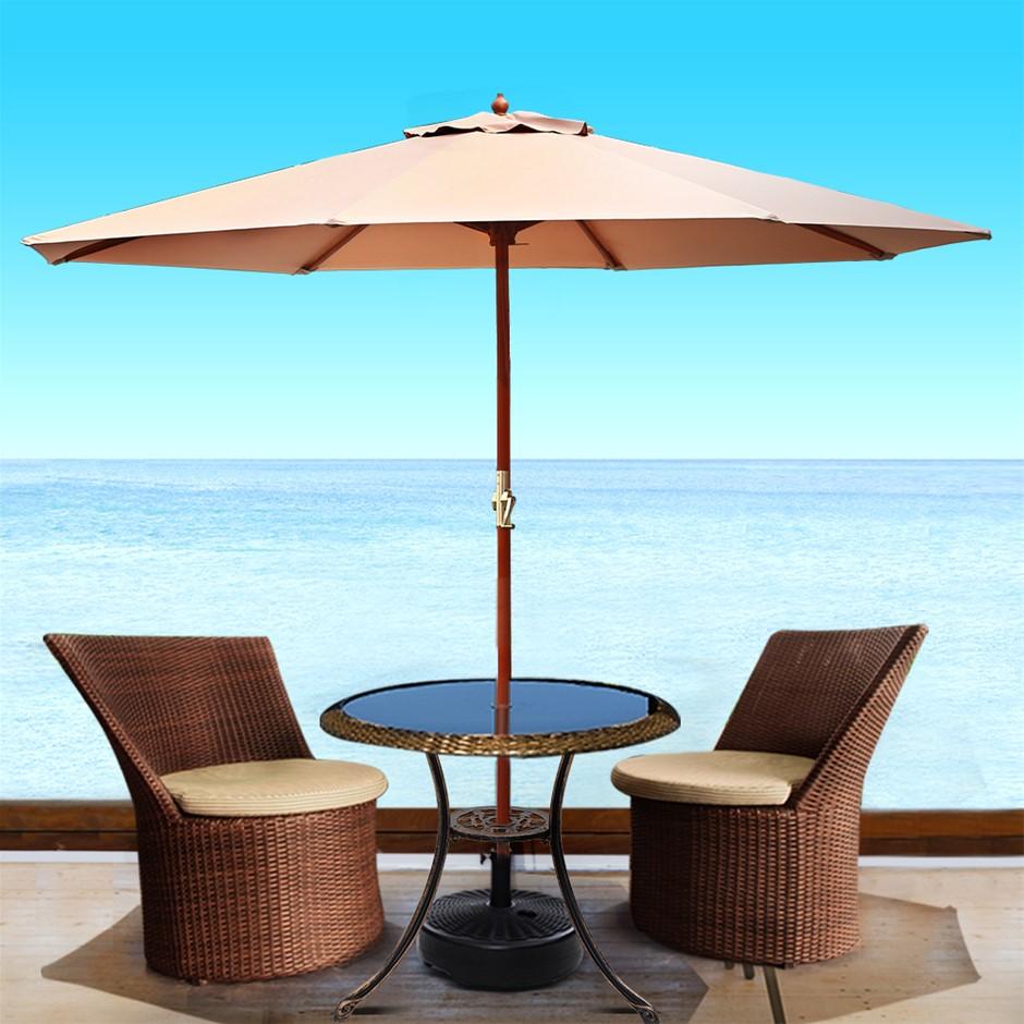 Instahut Outdoor Umbrella Pole Umbrellas 3M W/ Base Garden Stand Deck Beige