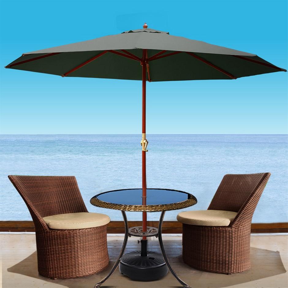 Instahut Outdoor Umbrella Pole Umbrellas 3M W/ Base Garden Stand Deck
