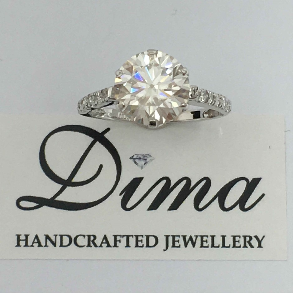 18ct White Gold, 2.43ct Moissanite and Diamond Ring