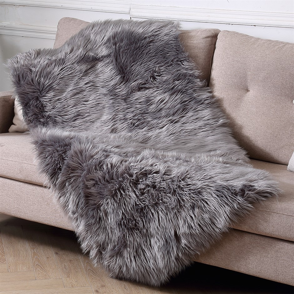 Floor Rug Shaggy Carpet Area Rugs Soft Fur Living Room Bedroom 80X150 Dark