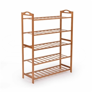 2x Levede 5 Tier Bamboo Shoe Rack Shoes