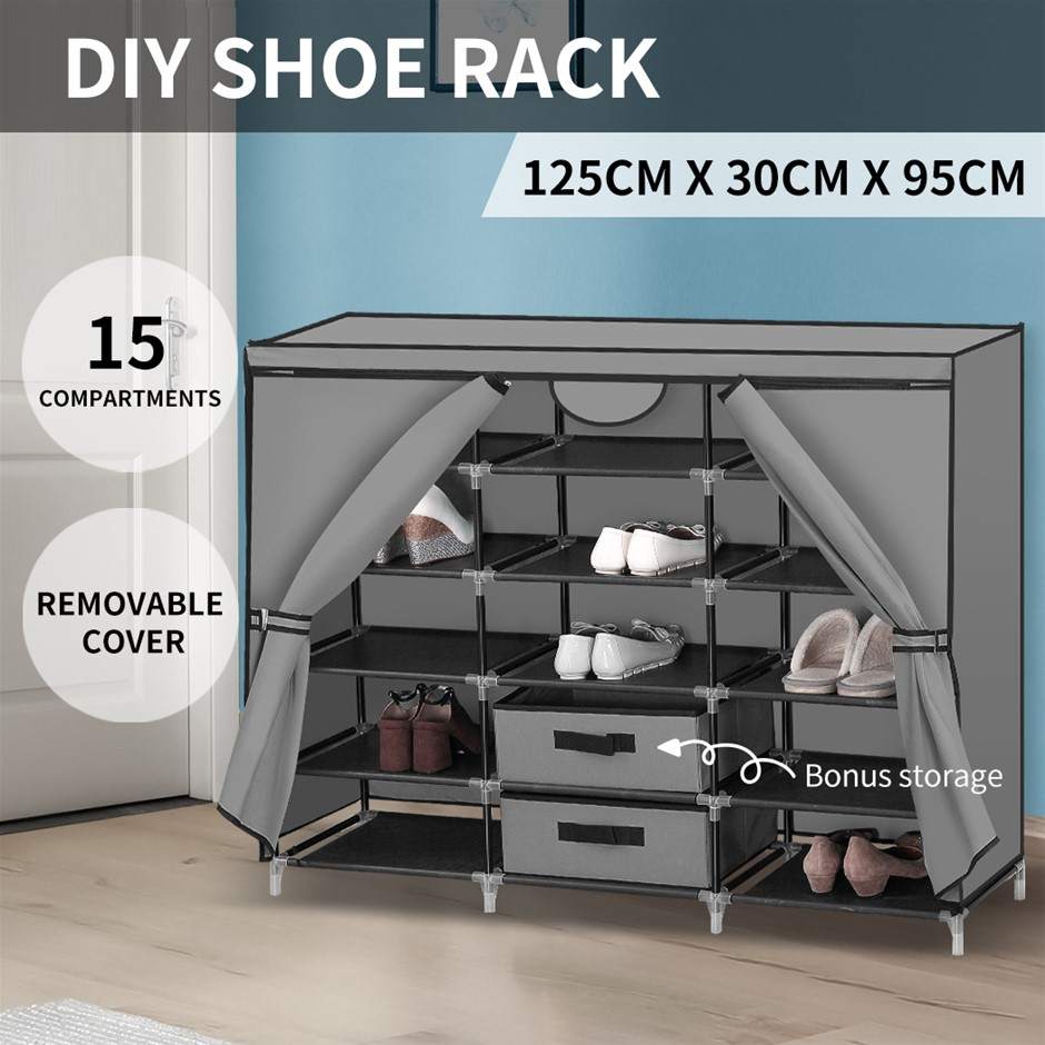 Shoe Rack DIY Portable Storage Cabinet Organiser Stackable Shelf Organizer