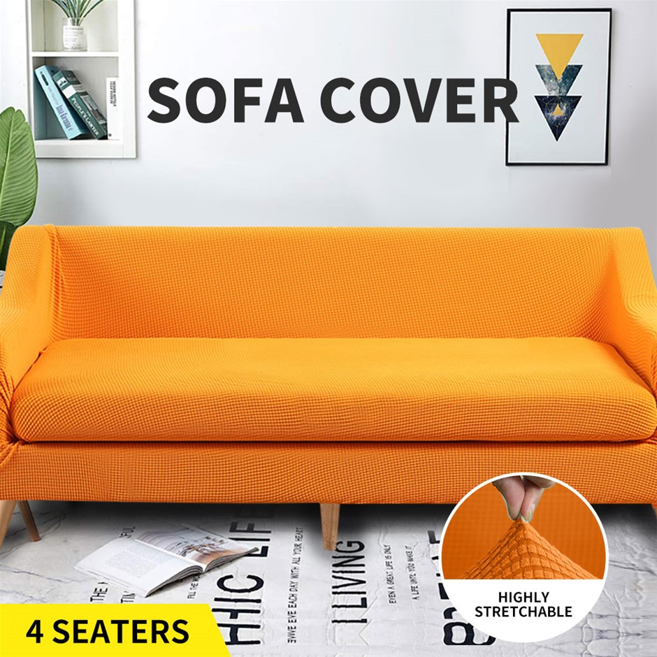 Couch Sofa Seat Covers Stretch Protectors Slipcovers 4 Seater Orange