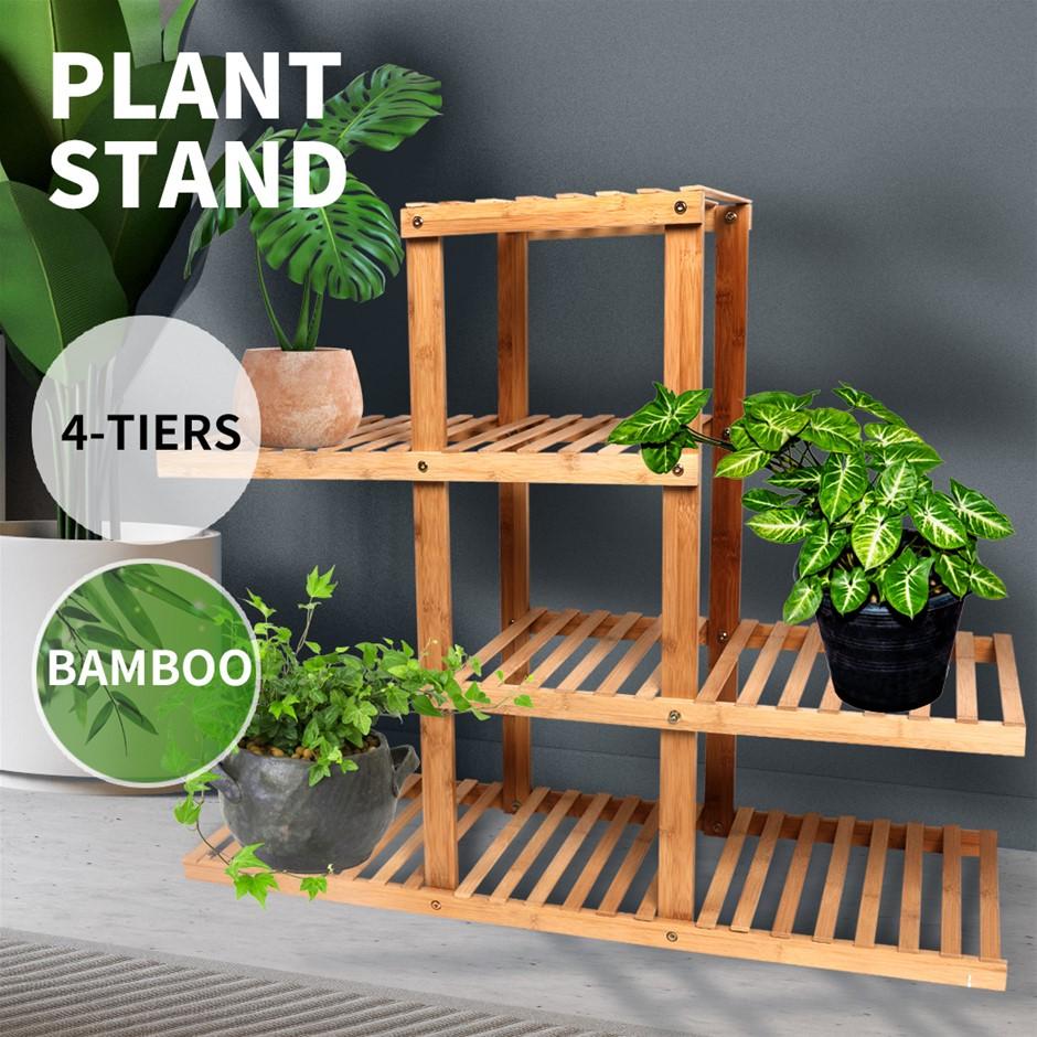 4 Tiers Premium Bamboo Wooden Plant Stand In/outdoor Garden Planter Flower