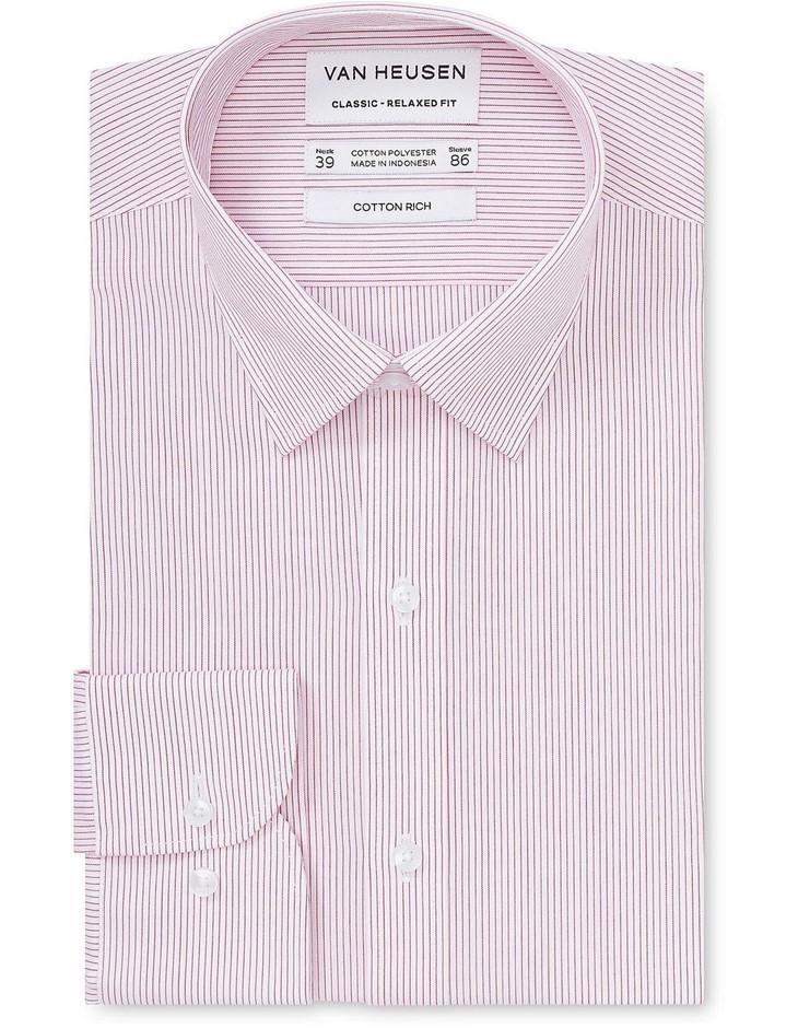 VAN HEUSEN White Ground Fine Burgundy Stripe. Size 46, Cotton Blend. Buyers