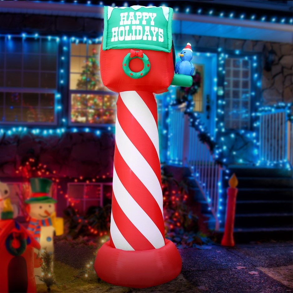 Jingle Jollys Inflatable Christmas Mailbox 2.4M Lights Xmas Outdoor