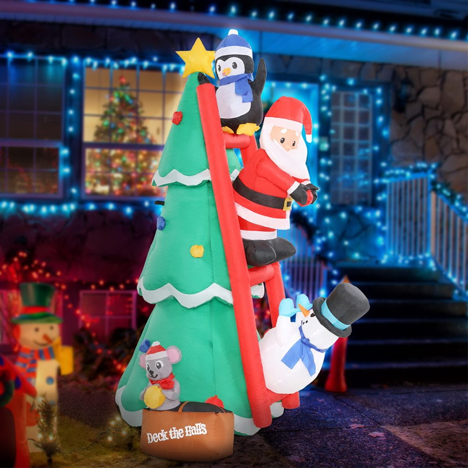 Jingle Jollys Inflatable Christmas Tree Santa 1.8M Outdoor LED Light
