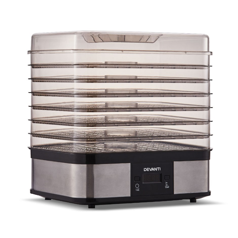 Devanti Food Dehydrator 7 Trays Fruit Beef Jerky Stainless Steel