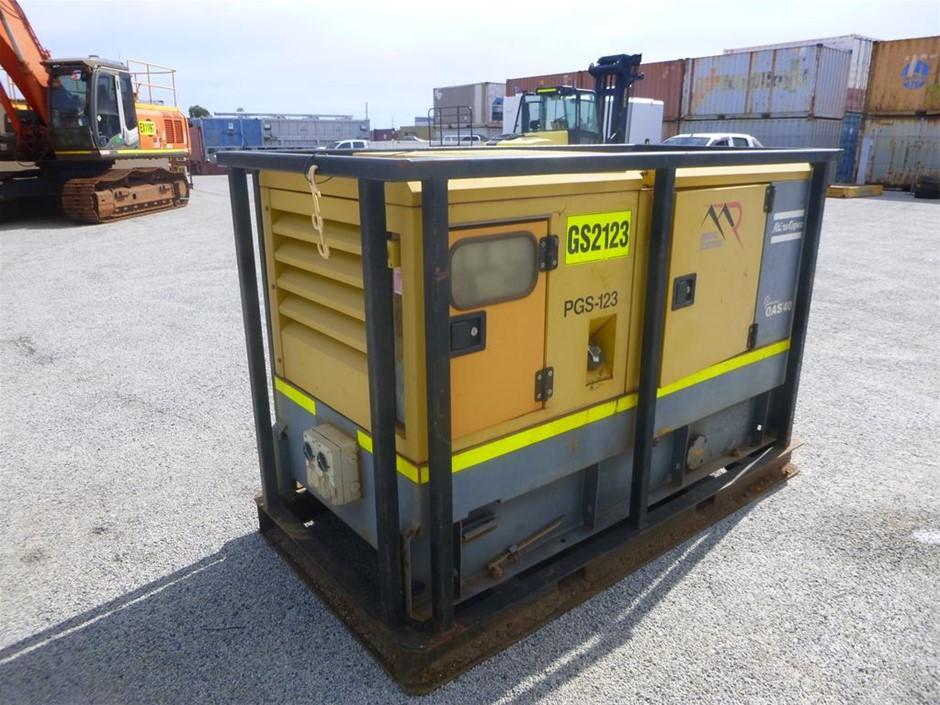 2012 Atlas Copco QAS40 40 KVA Skid Mounted Generator