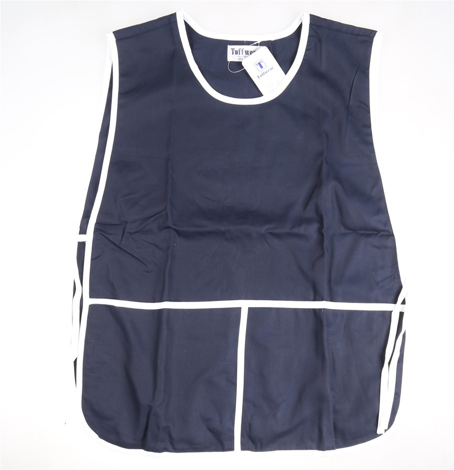 2 x TUFFWEAR Women`s Bib Aprons, Size XL, Navy with White Trim 80% Polyeste