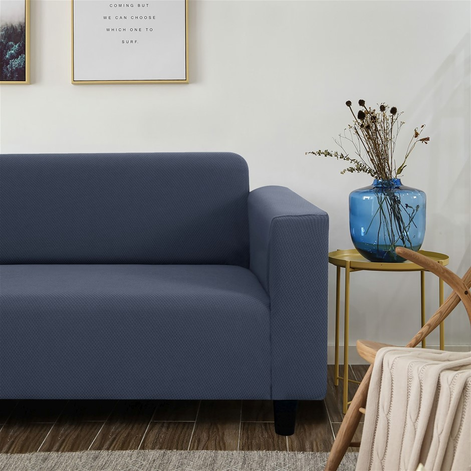 Sherwood Jacquard Easy Stretch Navy 4 Seater Couch Sofa Cover