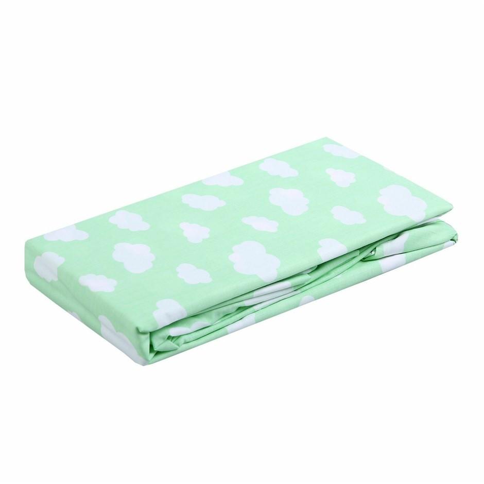 Dreamaker Standard Cot Sheet Set Green Clouds