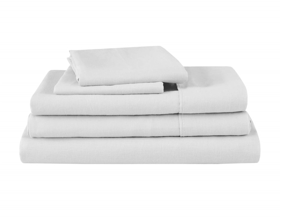 Natural Home Linen Sheet Set Super King Bed WHITE