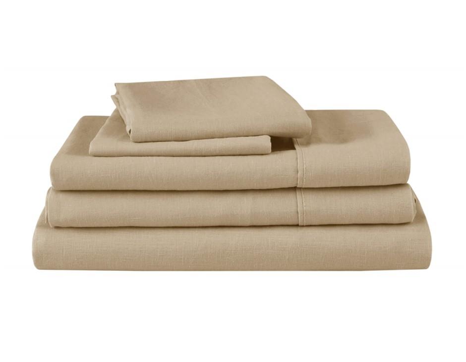 Natural Home Linen Sheet Set Queen Bed HAZENLUT