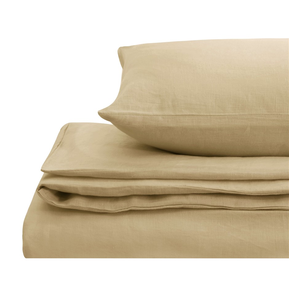 Natural Home Linen Quilt Cover Set Super King Bed HAZENLUT
