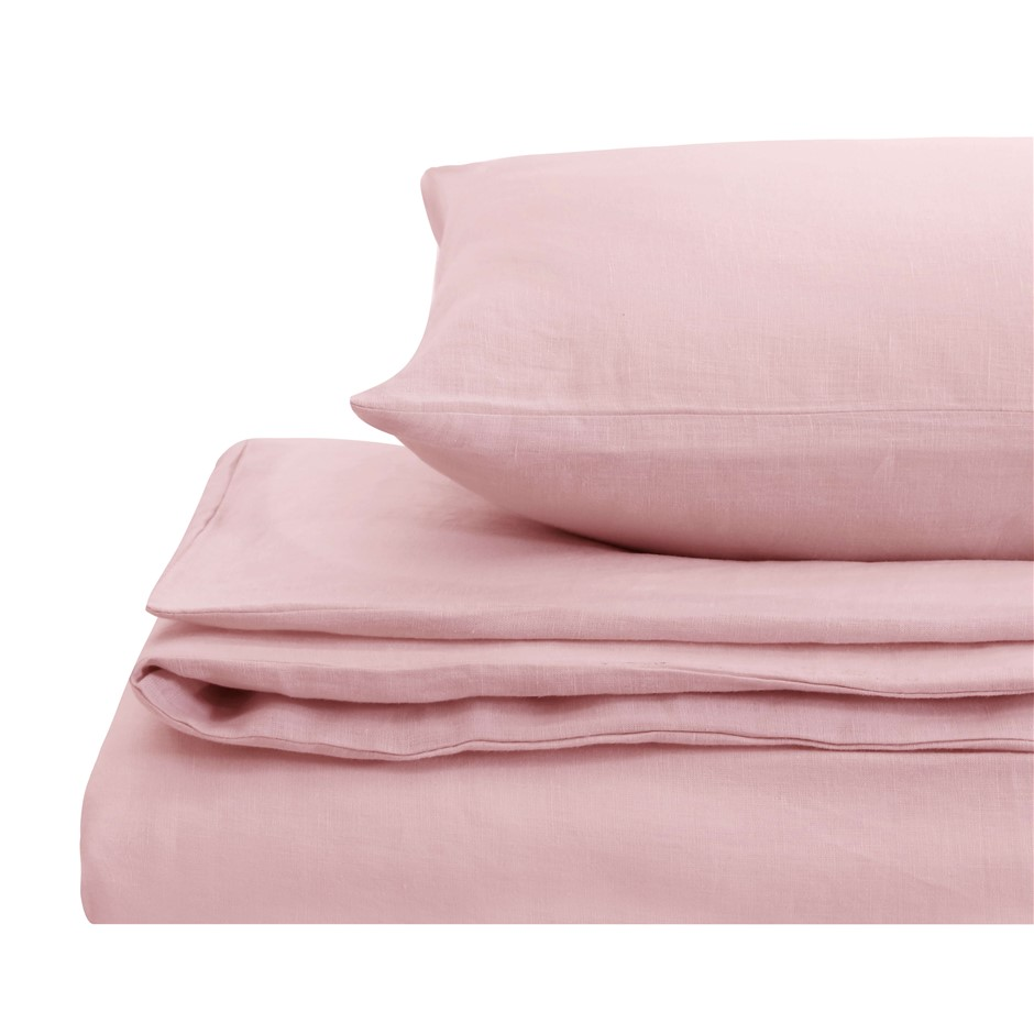 Natural Home Linen Quilt Cover Set King Bed Blush Pink
