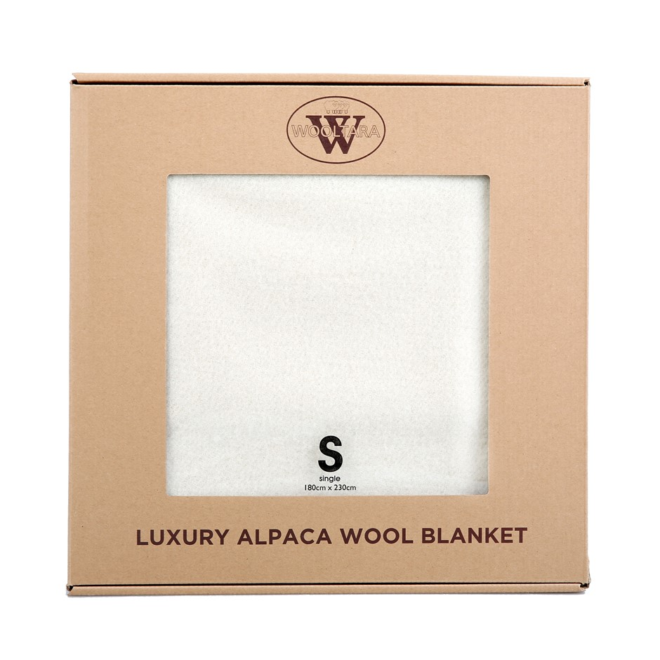 Wooltara Luxury 350GSM Alpaca Wool Blanket Cream Double Bed