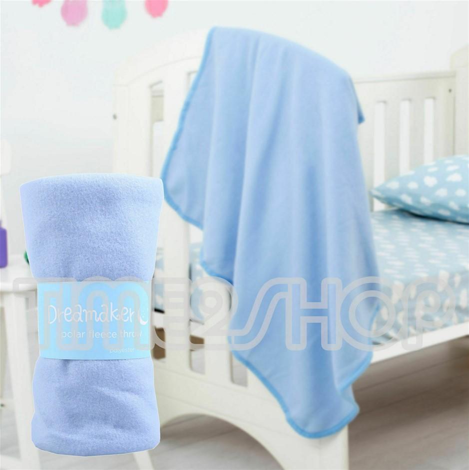 Dreamaker Baby Cot Polar Fleece Throw Blue