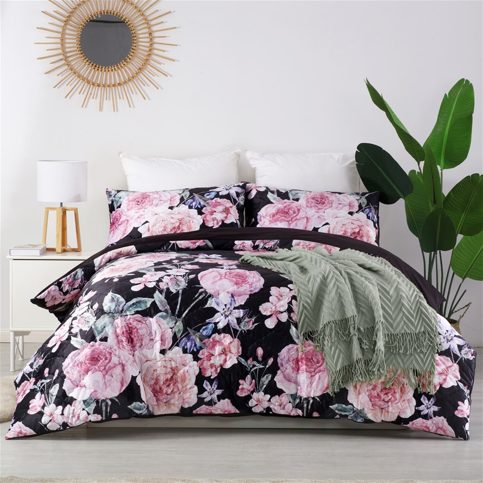 Dreamaker velvet digital printing pinsonic quilted Quilt Cover Set King Bed