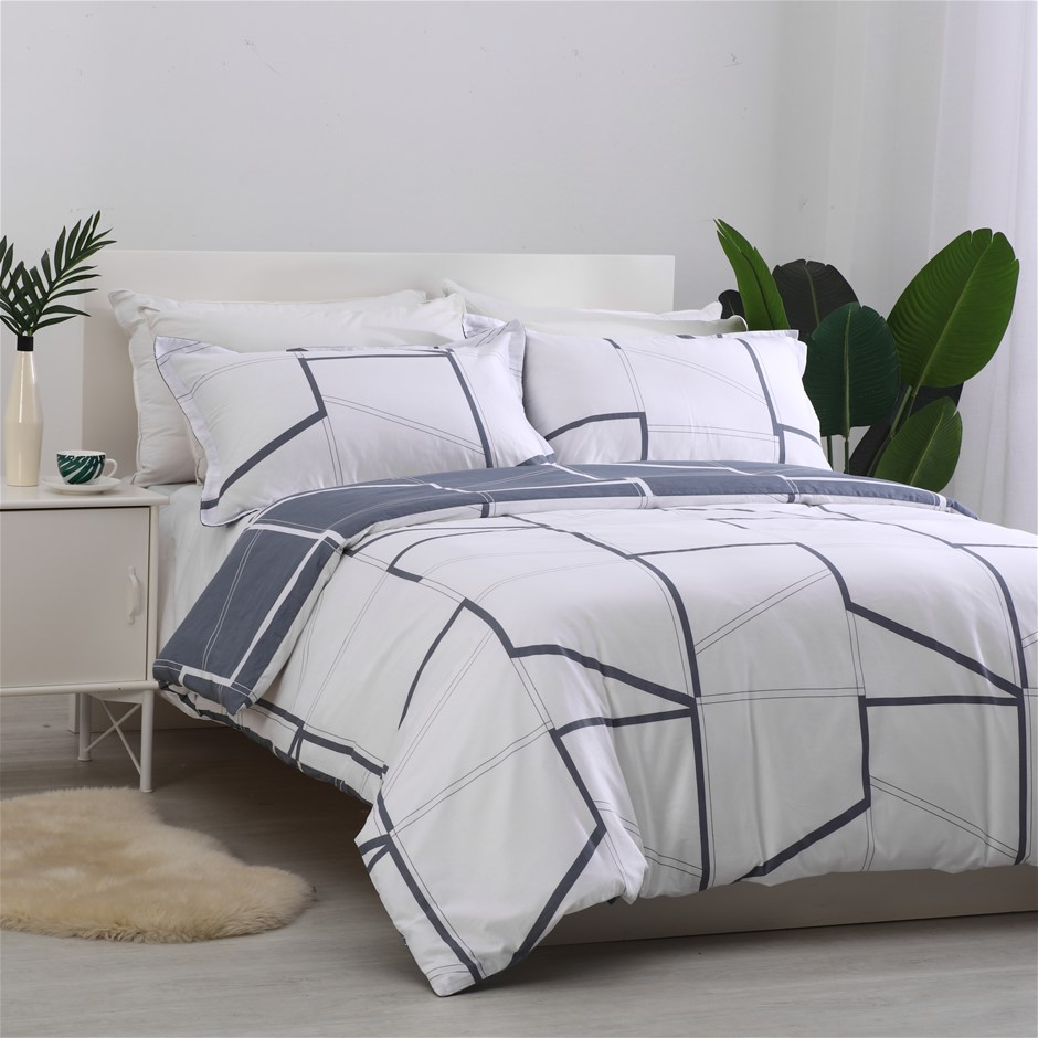 Dreamaker 250TC Egyptian Cotton Printed Quilt Cover Set King Bed Creame