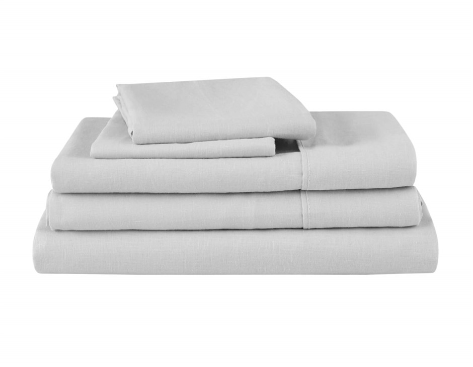 Natural Home Linen Sheet Set Single Bed SILVER