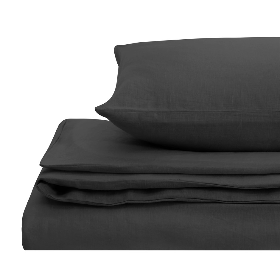 Natural Home Linen Quilt Cover Set Super King Bed CHARCOAL