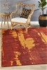 Extra Large Paprika Red Abstract Jacquard Woven Rug - 320X230cm