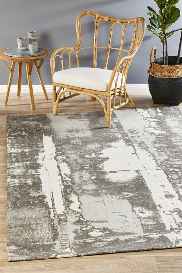 Extra Large Silver Grey Abstract Jacquard Woven Rug - 320X230cm
