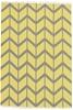 Medium Yellow Handmade Cotton Traditional Flatwoven Rug - 225X155cm
