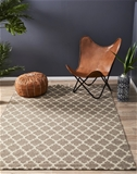 Med Neutral Handmade NZ Blend Wool Scandi Lattice Flatwoven Rug - 225X155cm