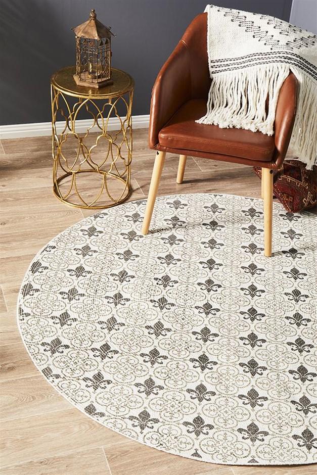 Round Silver Hand Braided Cotton Fleur-de-lis Flat Woven Rug - 150X150cm