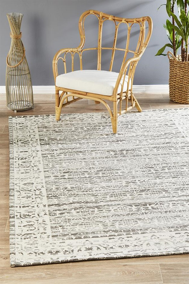 Large Silver Grey Transitional Jacquard Woven Rug - 280X190cm