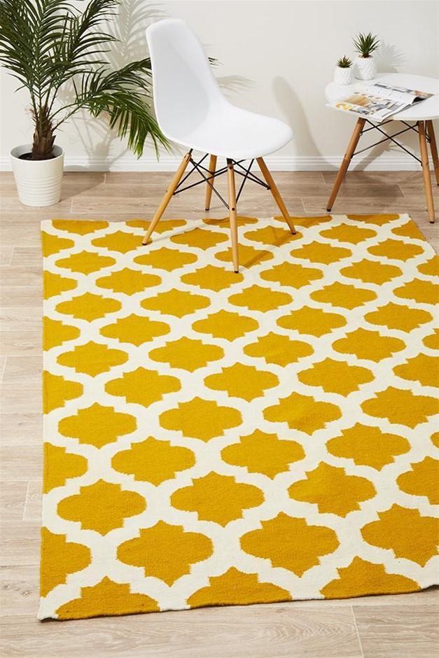 Medium Yellow Handmade Wool Lattice Flatwoven Rug - 225X155cm