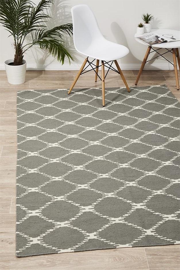 Medium Grey Handmade Wool Ripple Flatwoven Rug - 225X155cm
