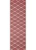 Medium Pink Handmade Wool Ripple Flatwoven Runner Rug - 300X80cm