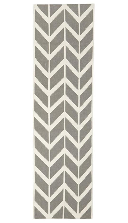 Medium Grey Handmade Wool Scandi Flatwoven Runner Rug - 300X80cm