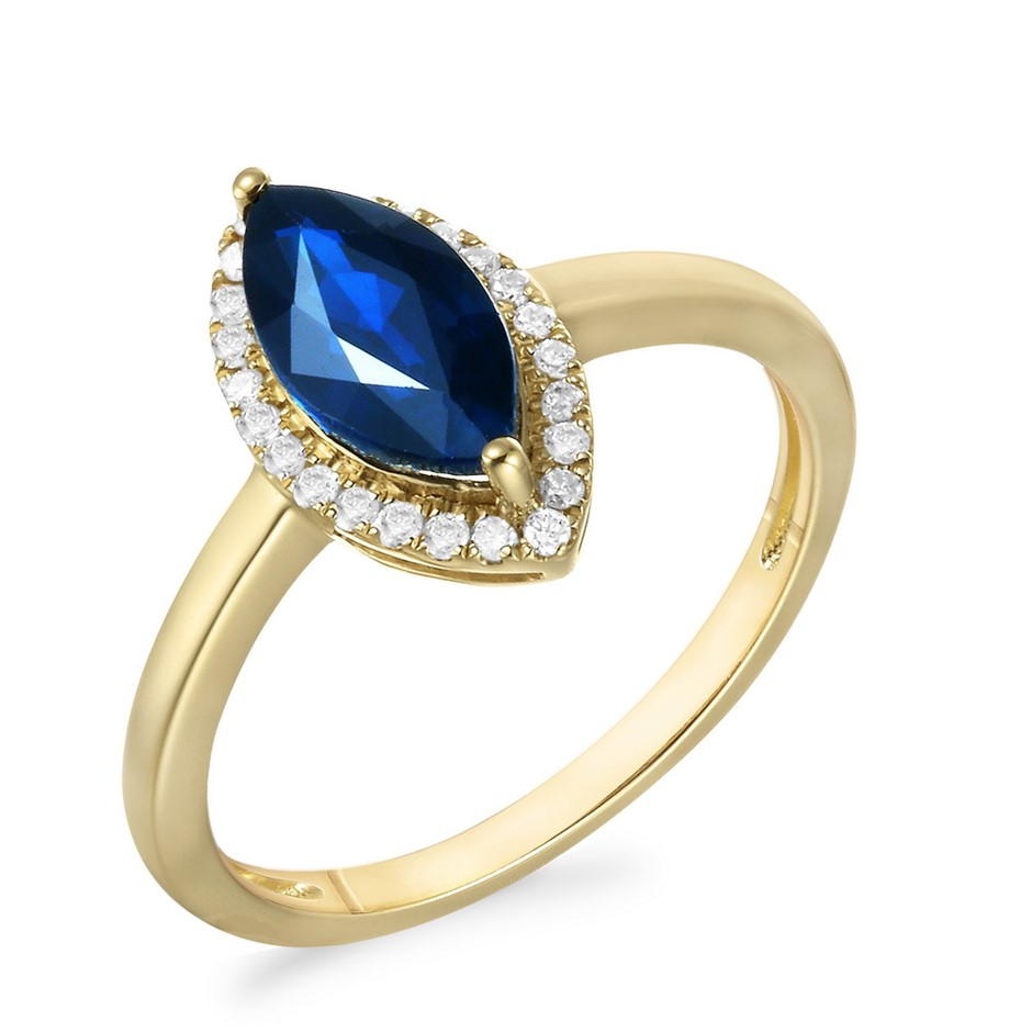 9ct Yellow Gold, 1.28ct Blue Sapphire and Diamond Ring