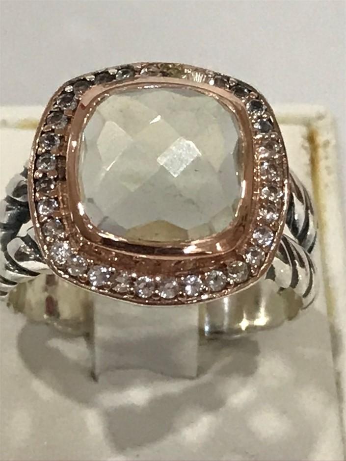 Eye Catching 6.00ct Green Amethyst & 18K R/Gold Vermeil Ring Size P 1/2 (8)