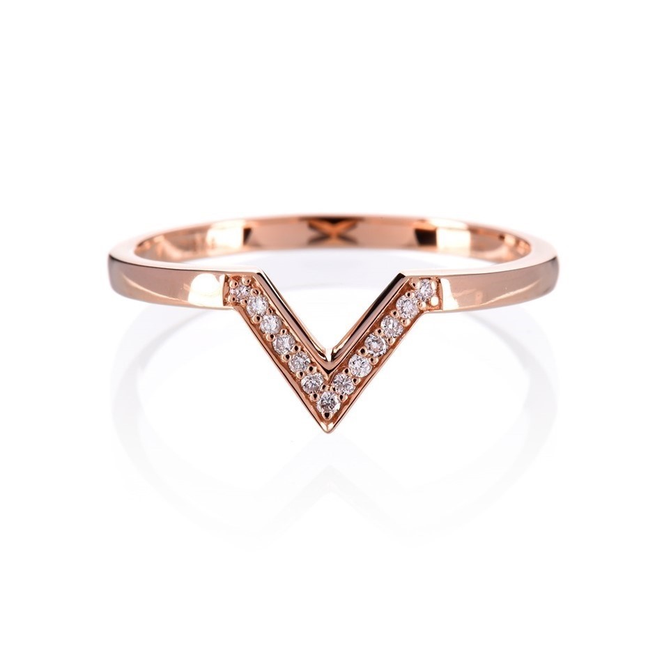 Solid 9ct rose gold and diamond ring 0.07ct TDW