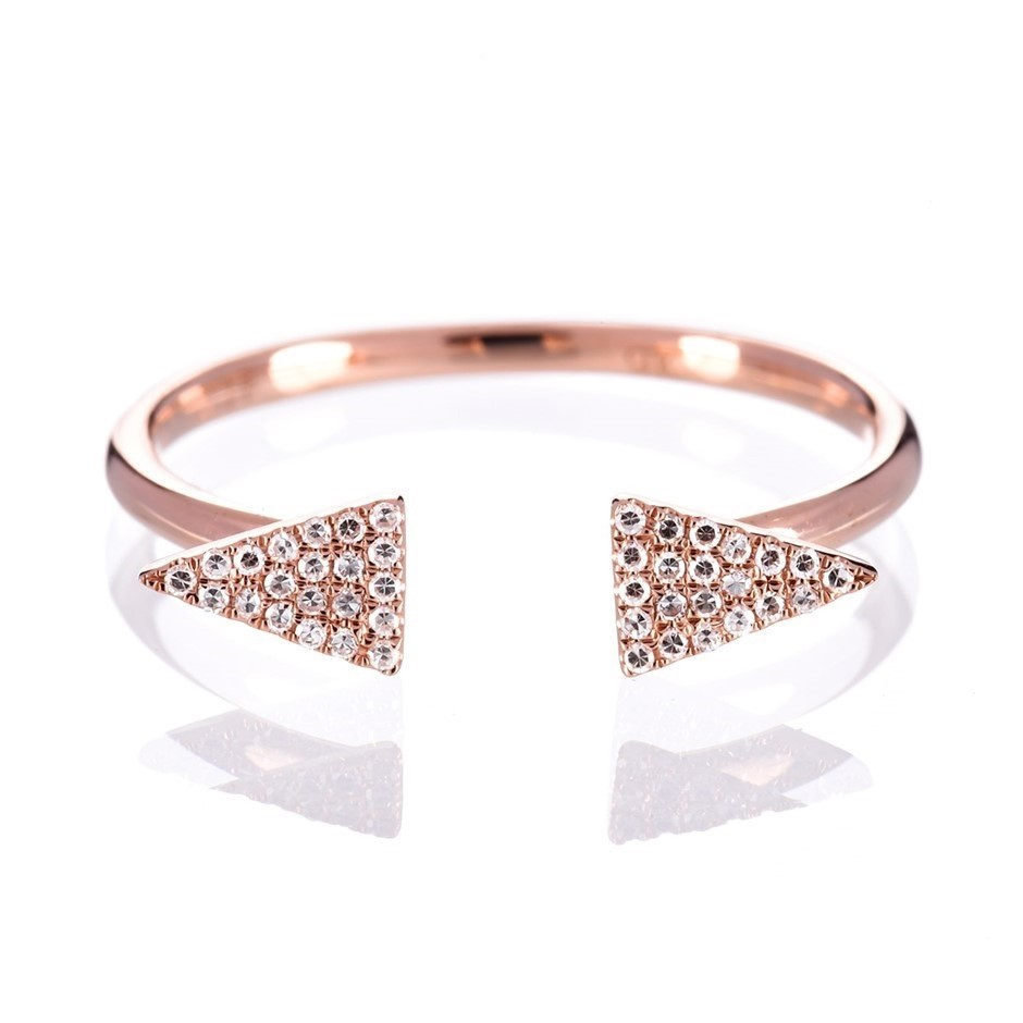 Solid 9ct rose gold and diamond ring 0.08ct TDW