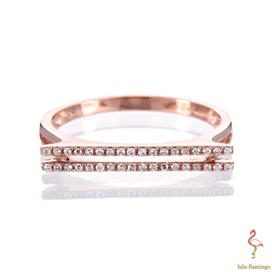 Solid 9ct rose gold and diamond ring 0.10ct TDW