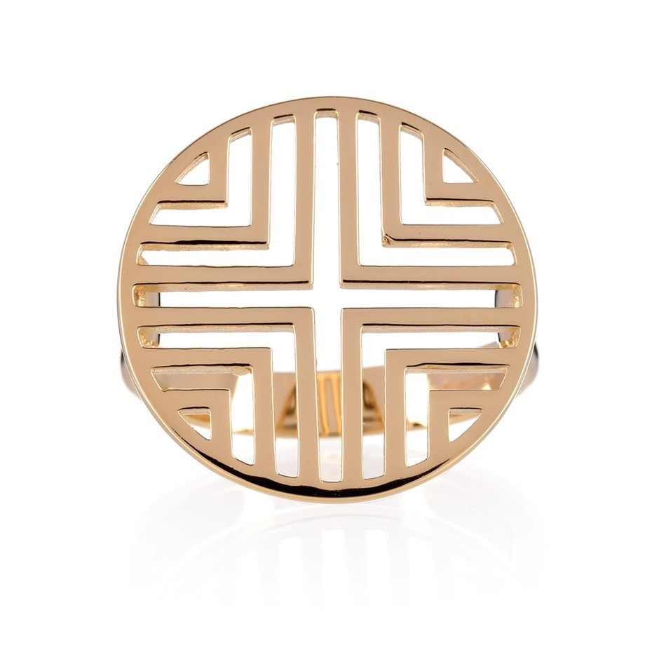 Yellow gold plated sterling silver geometric disc ring