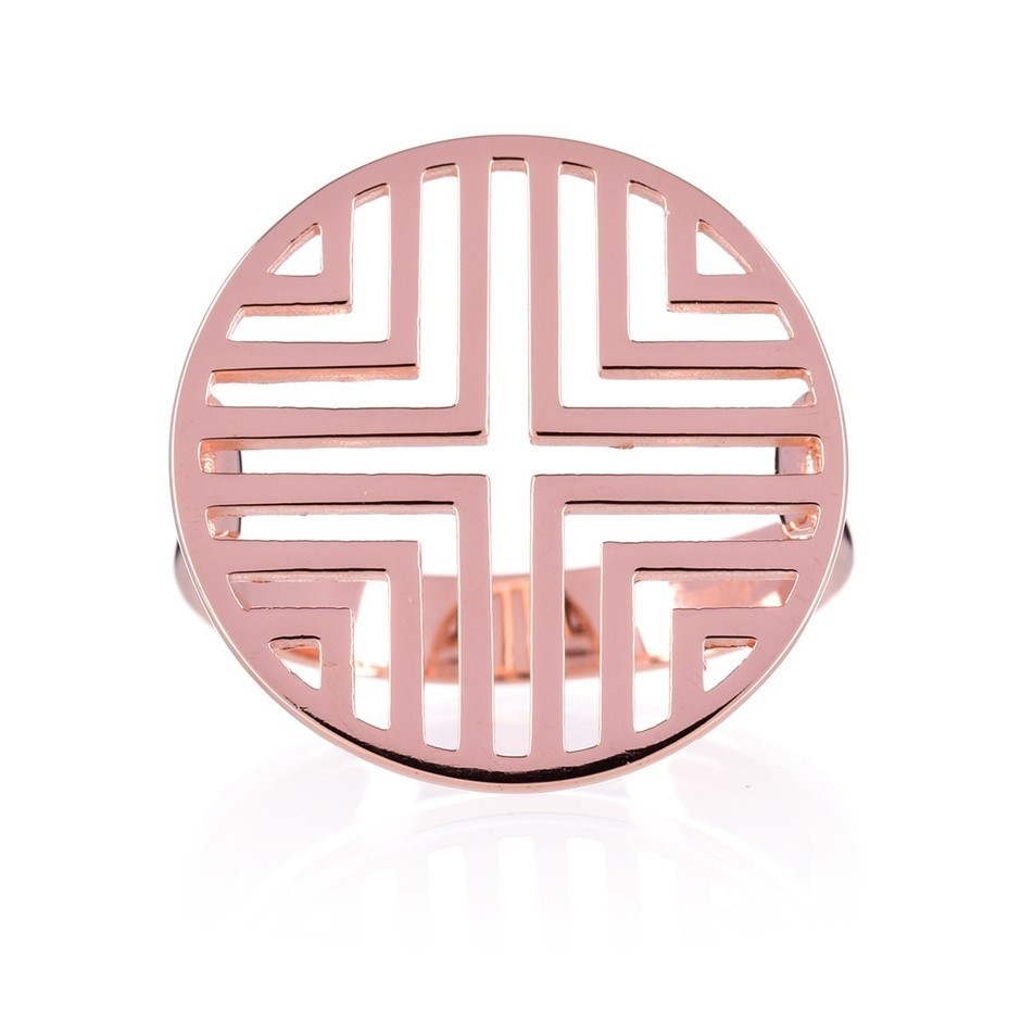 Rose gold plated sterling silver geometric disc ring