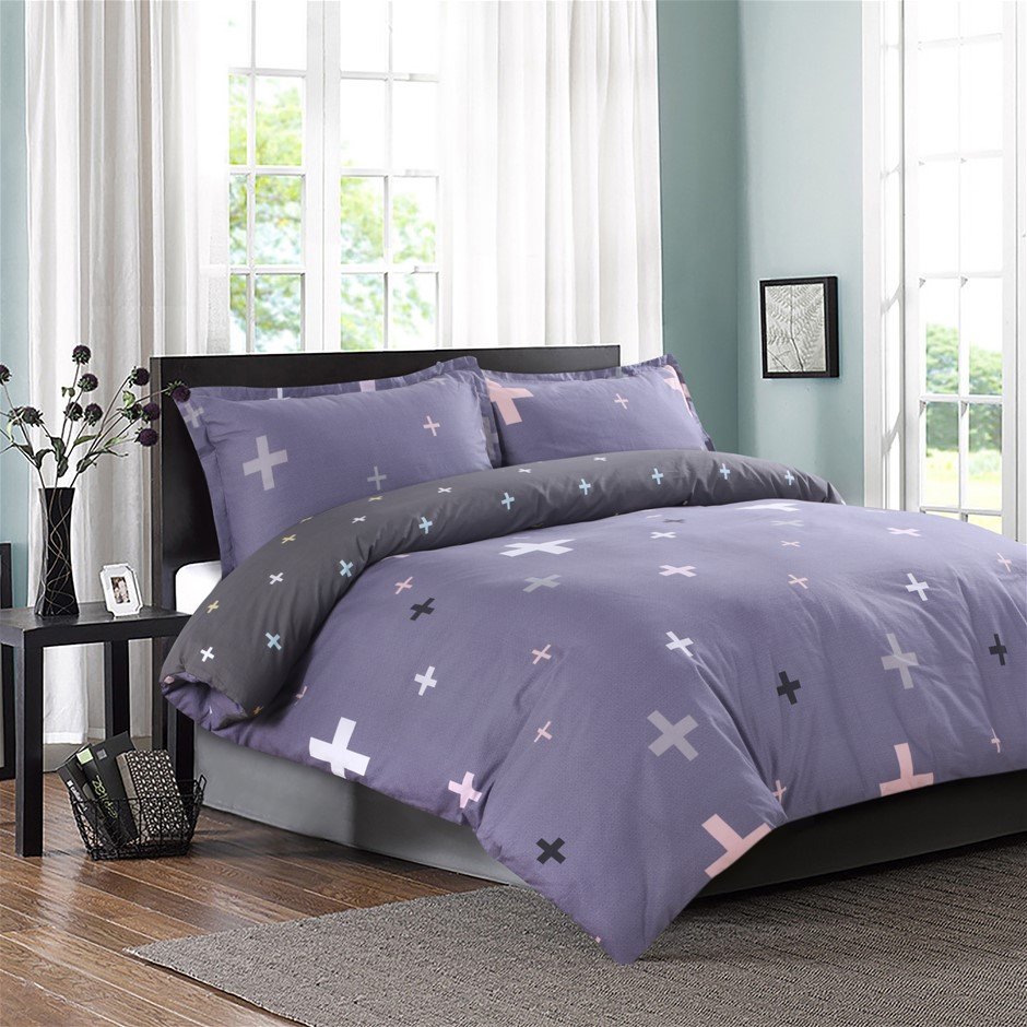 Dreamaker Printed Cotton Sateen Quilt Cover Set King Bed Plus Plus