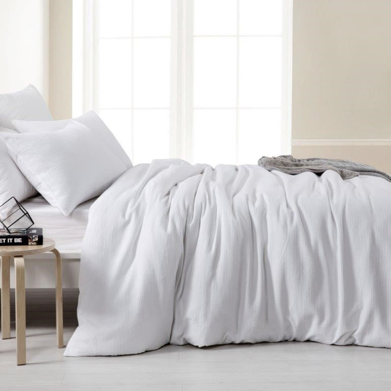 Dreamaker Amber Waffle Quilt Cover Set King Bed White