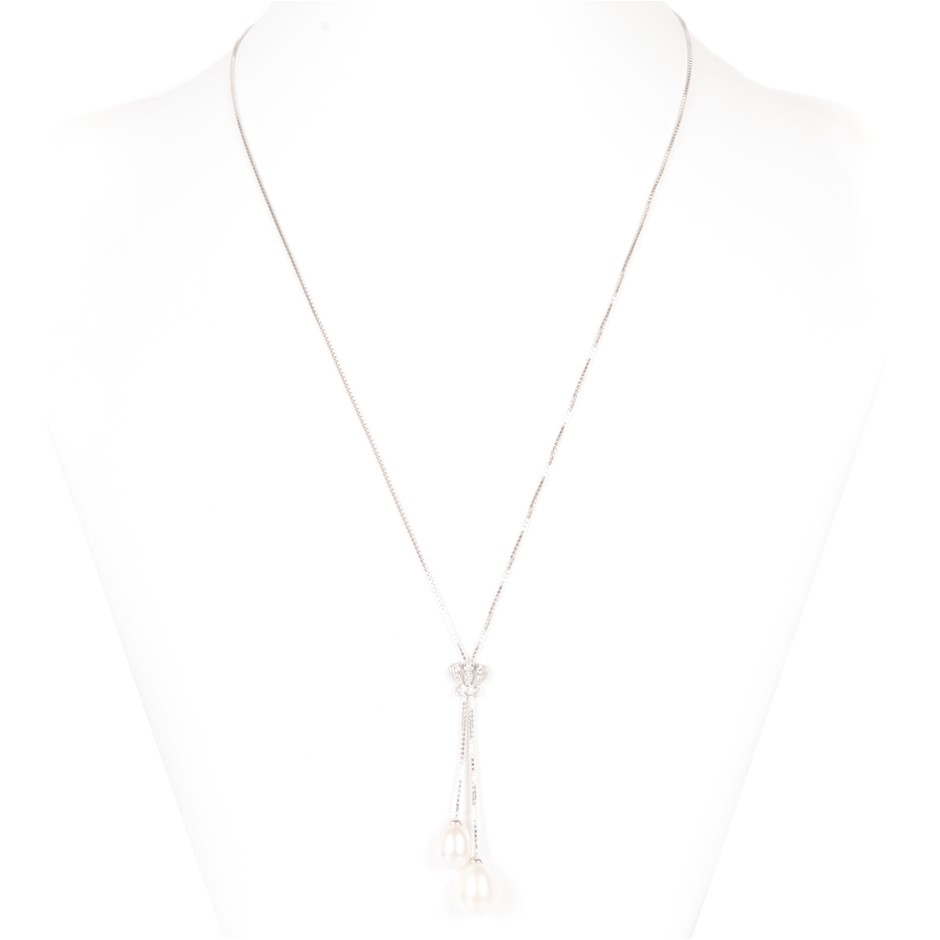 Freshwater Pearl & CZ Set Necklace