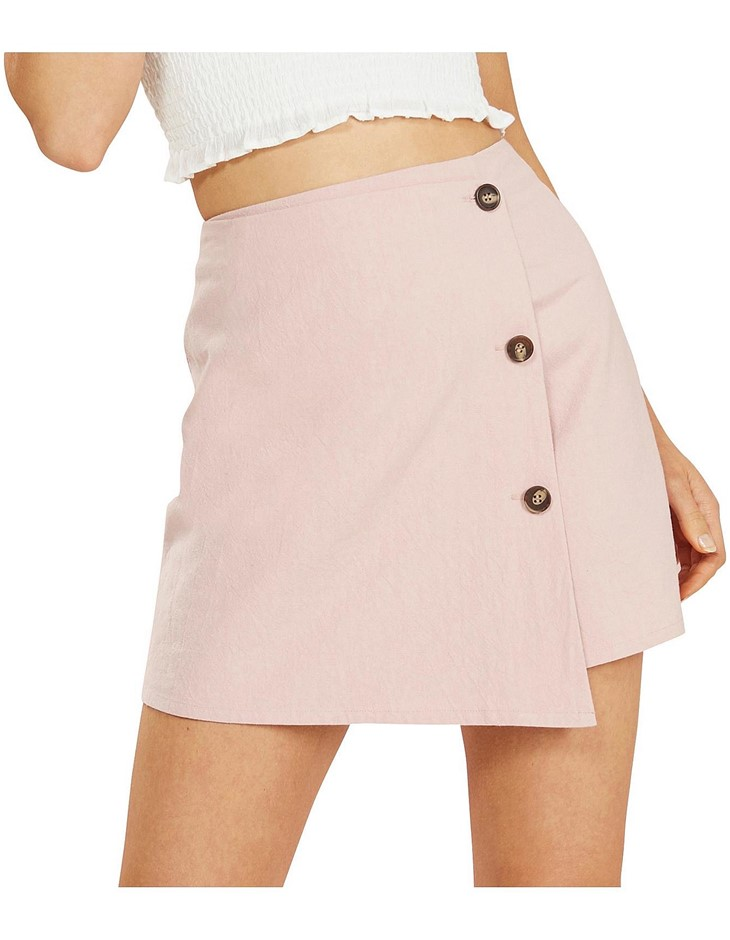 MINK PINK Floss Mini Step Hem Skirt. Size M, Colour: Dusty Pink. Buyers Not