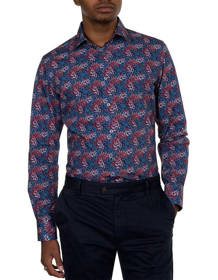 JAMES HARPER Leaf Multi Print Shirt. Size S, Colour: Multi. 100% Cotton. Bu