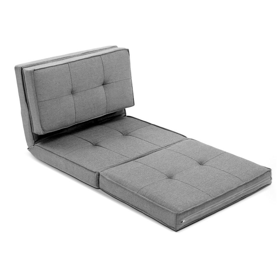 Artiss Lounge Sofa Floor Couch Chaise Chair Recliner Linen Folding Grey