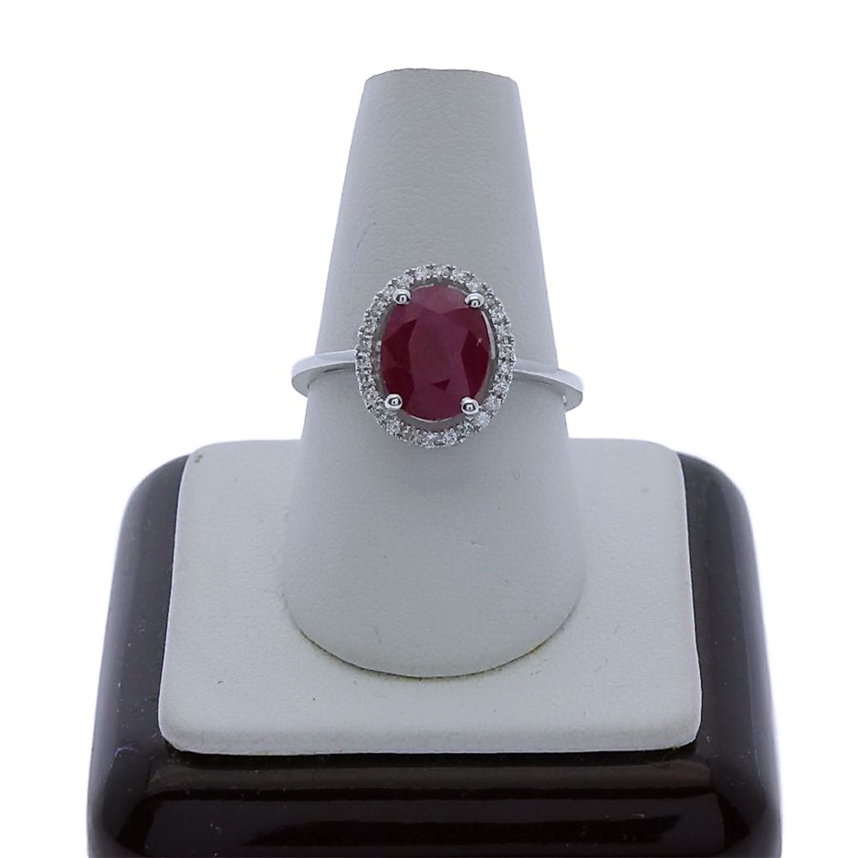 9ct White Gold, 2.03ct Ruby and Diamond Ring